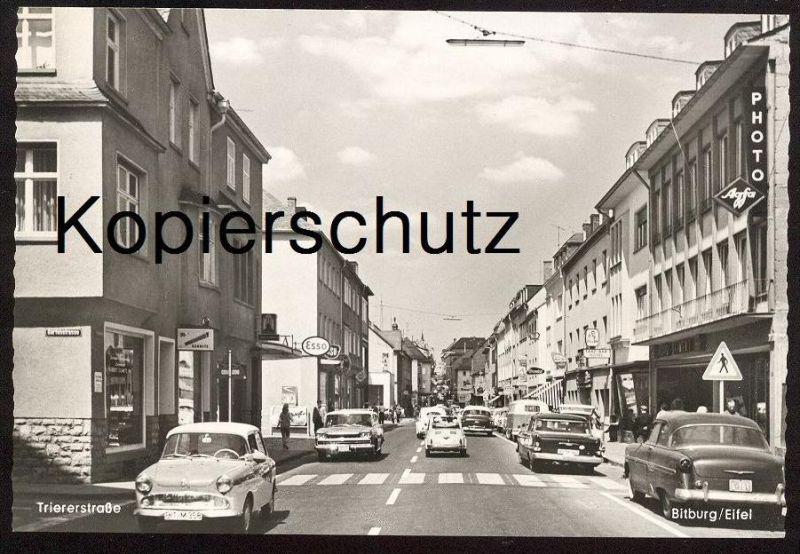 ÄLTERE POSTKARTE BITBURG TRIERER STRASSE NSU SIMCA ESSO Auto Autos Cars Car Automobil Volkswagen Opel ? cpa postcard AK
