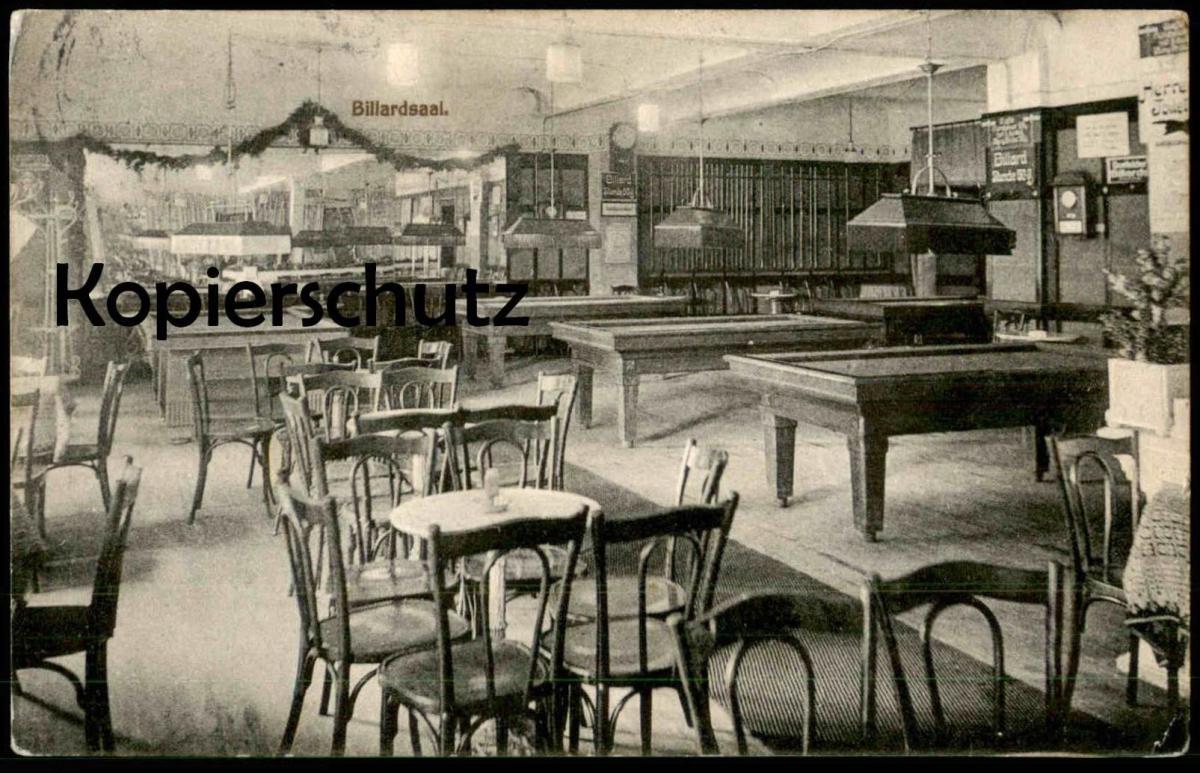 ALTE POSTKARTE GRUSS AUS DEM HOTEL RESTAURANT CAFÉ BAVARIA OSNABRÜCK BILLARDSAAL BILLARD billiards Deutsche Post Peking