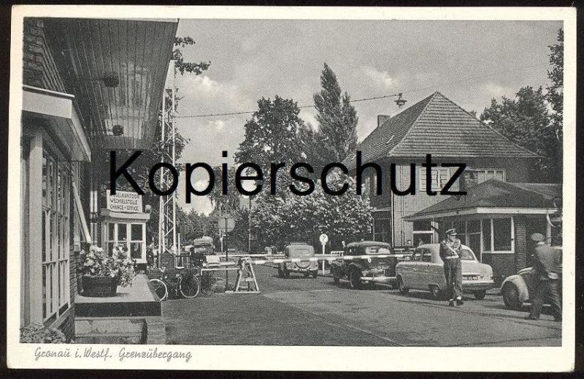 ALTE POSTKARTE GRONAU GLANERBRUG GRENZE Grense Border frontière Auto Autos Car Cars Automobile Glanerbrücke cpa postcard