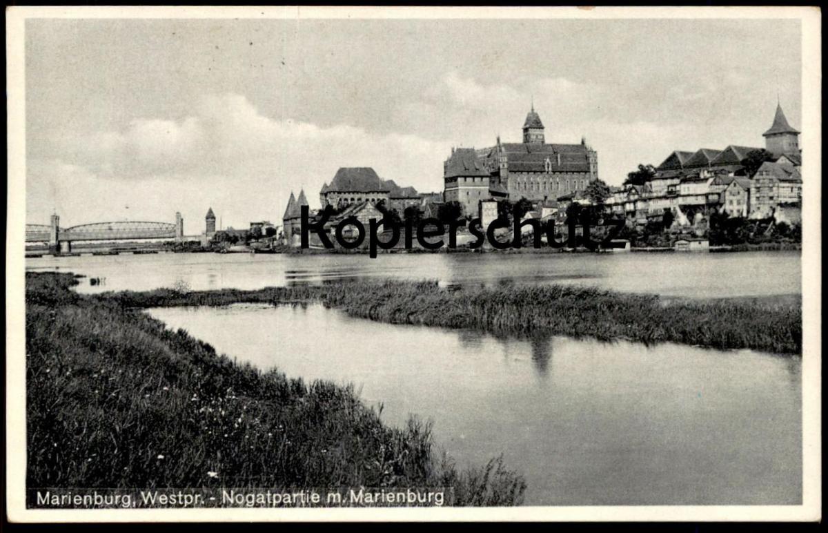 ALTE POSTKARTE MARIENBURG NOGATPARTIE MIT MARIENBURG NOGAT MALBORK Westpreussen Polen Polska pologne poland cpa postcard