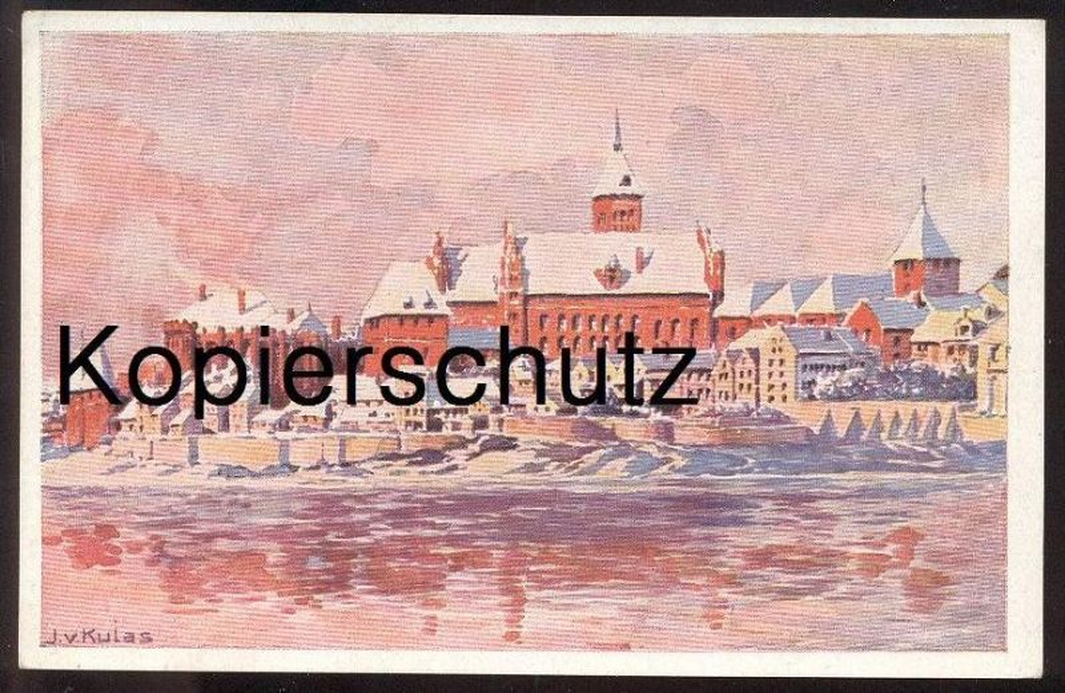 ALTE KÜNSTLER-POSTKARTE MARIENBURG IM WINTER MALBORK J. V. KULAS Westpreussen Polen Polska pologne poland cpa postcard