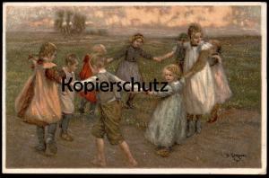 ALTE KÜNSTLER-POSTKARTE KINDERREIGEN BERTHOLD GENZMER Ringelreihen Kinder enfants children ring-a-ring-a-roses ronde cpa