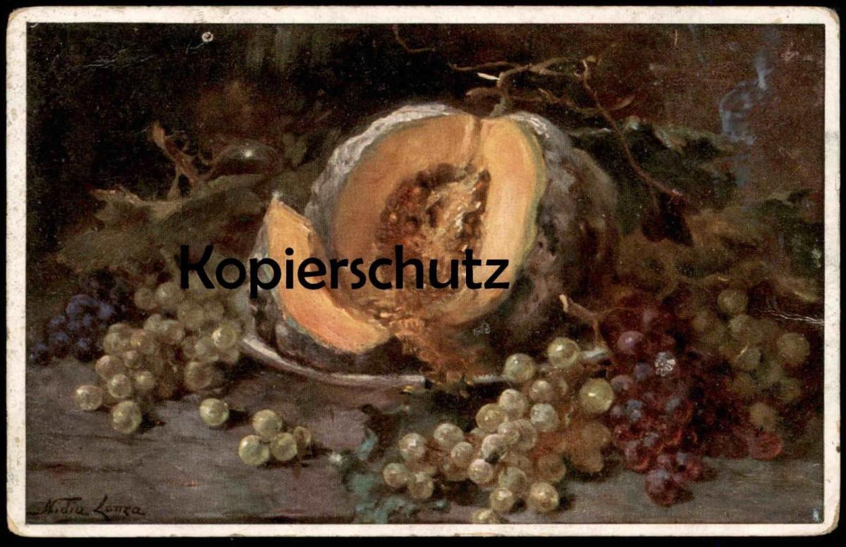 ALTE PRIMUS-KÜNSTLER-POSTKARTE STILLEBEN SÜDFRÜCHTE NIDIA LONZA TRIEST raisins grapes melon fruits art postcard cpa AK