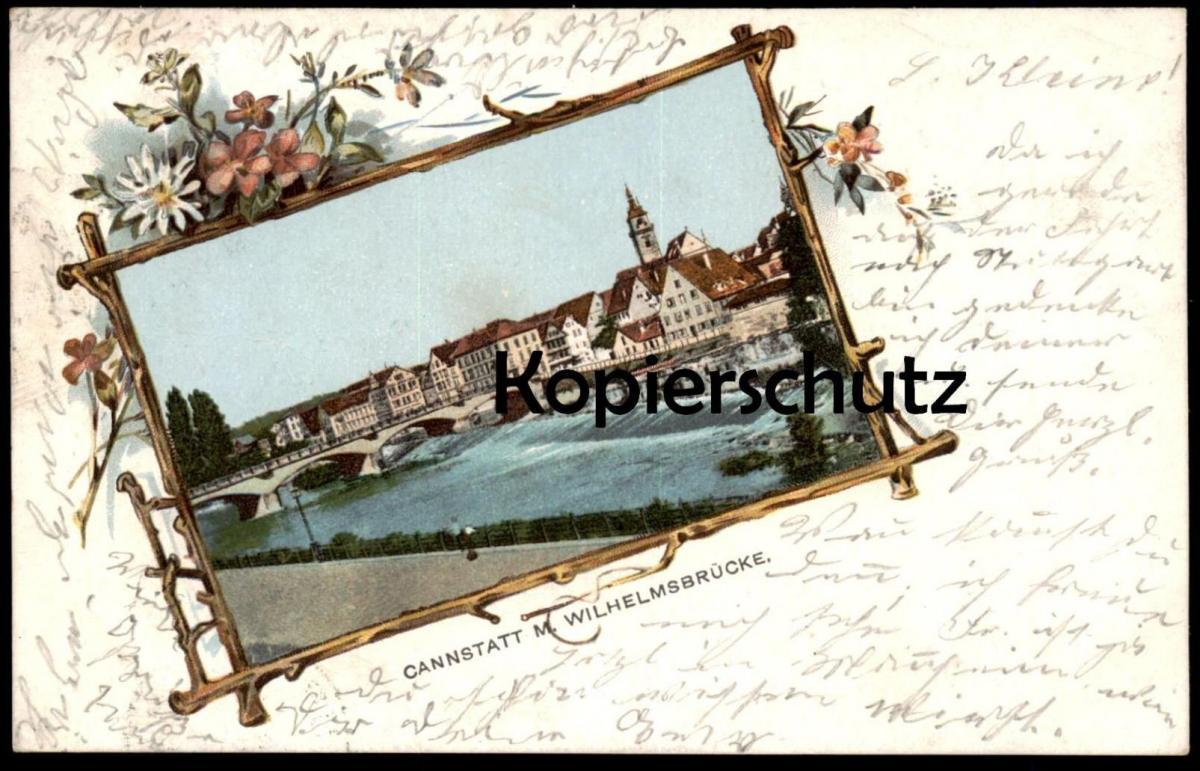 ALTE LITHO-POSTKARTE STUTTGART - CANNSTATT M. WILHELMSBRÜCKE 1901 Passepartout Ansichtskarte AK cpa postcard