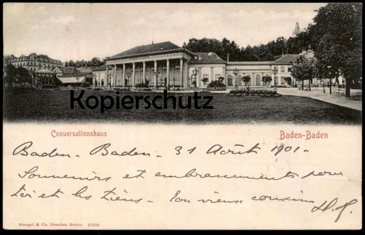 ALTE POSTKARTE BADEN-BADEN CONVERSATIONSHAUS 1901 conversation-house Verlag Stengel & Co. cpa postcard Ansichtskarte AK
