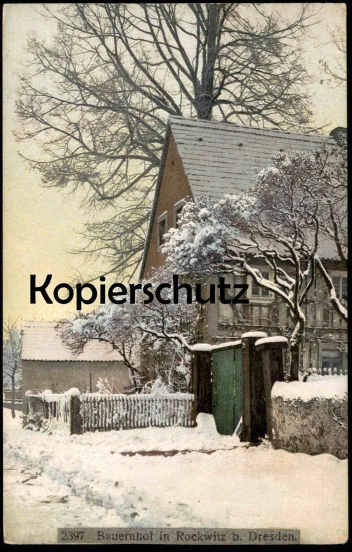 ALTE POSTKARTE BAUERNHOF IN RECKWITZ BEI DRESDEN BAUERNHAUS Winter hiver Schnee snow neige farm house ferme postcard cpa