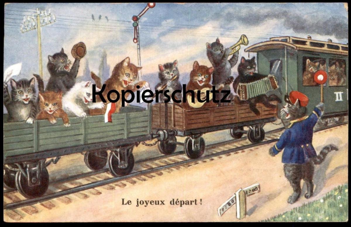 ALTE POSTKARTE KATZEN FAHREN ZUG le joyeux départ cat cats chat chats train Schaffner Katze conductor controleur music