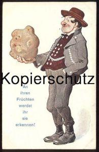ALTE KÜNSTLER-POSTKARTE AN IHREN FRÜCHTEN WERDET IHR SIE ERKENNEN KARTOFFEL BAUER potato farmer Humor humour postcard AK