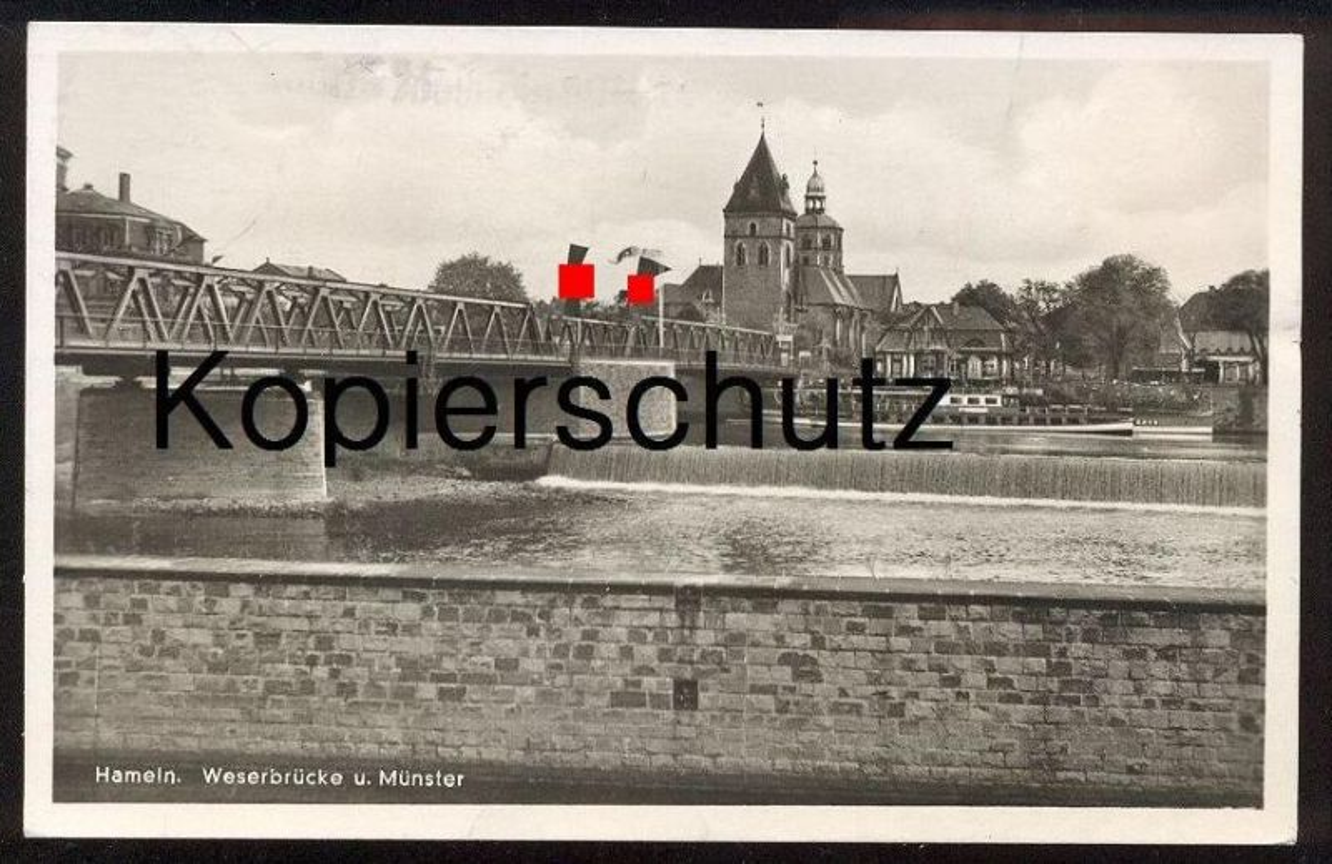 ALTE POSTKARTE HAMELN WESERBRÜCKE U. MÜNSTER 1943 3. Reich Beflaggung Fahne flag drapeau Ansichtskarte AK postcard cpa