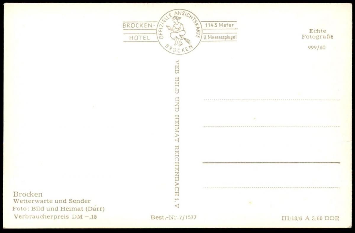 ältere Postkarte Brocken Wetterwarte Und Sender Turm Tower Tour