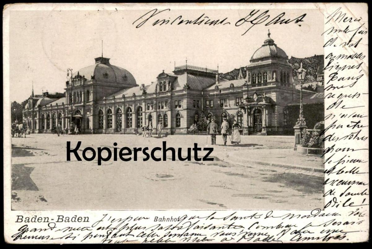ALTE POSTKARTE BADEN-BADEN BAHNHOF 1904 railway station gare cpa postcard Ansichtskarte AK