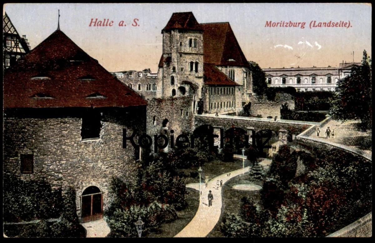 ALTE POSTKARTE HALLE AN DER SAALE MORITZBURG LANDSEITE BRIEFSTEMPEL HILFSLAZARETT EV. VEREINSHAUS HALLE FELDPOST 1916