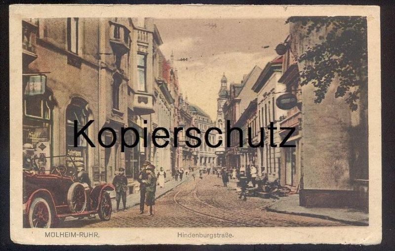 ALTE POSTKARTE MÜLHEIM RUHR HINDENBURG-STRASSE Kinder bestaunen Auto children & old car enfants voiture cpa postcard AK