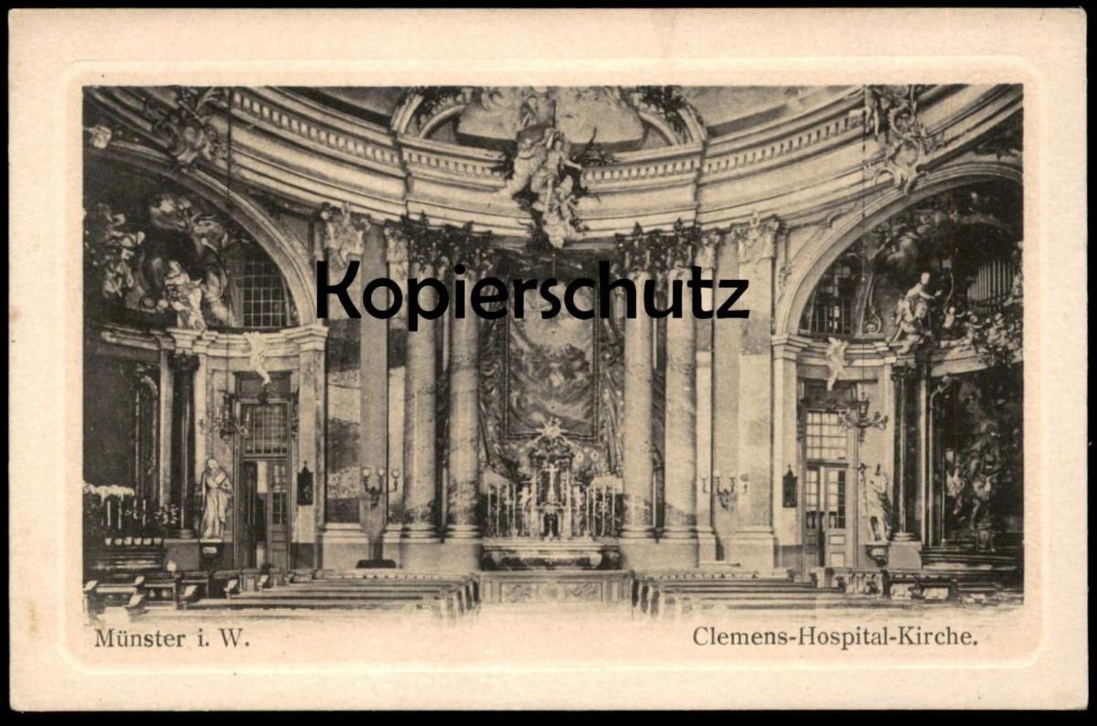 ALTE POSTKARTE MÜNSTER WESTFALEN CLEMENS-HOSPITAL-KIRCHE Clemenshospital Krankenhaus Hospital Orgel orgue organ cpa AK