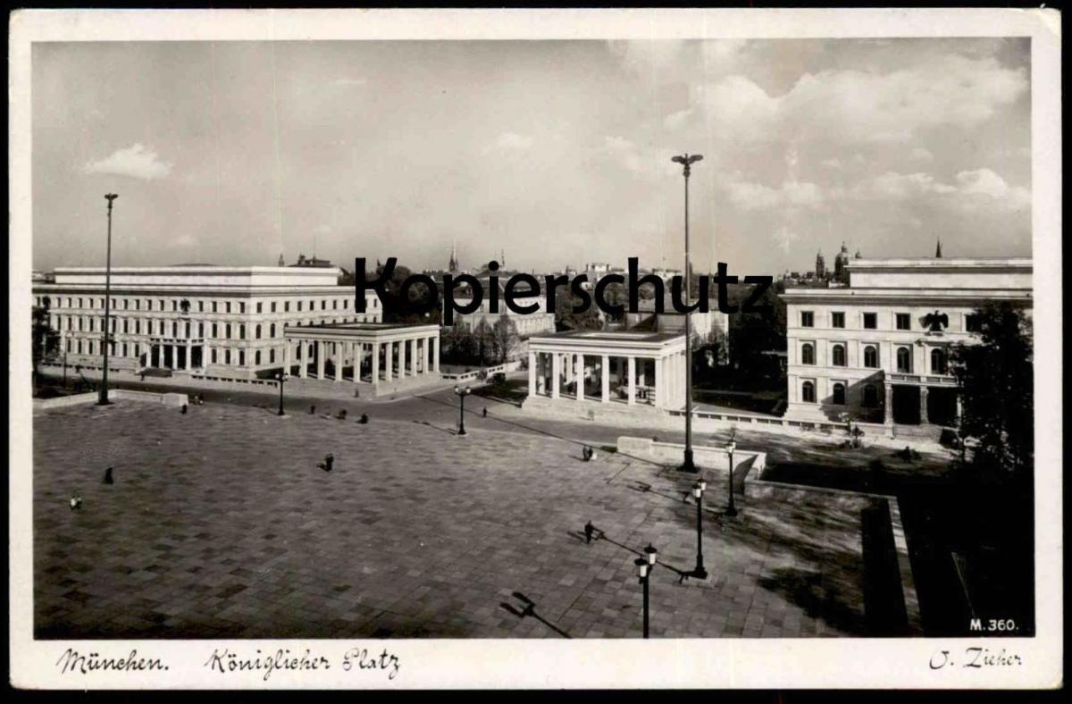 ALTE POSTKARTE MÜNCHEN KÖNIGLICHER PLATZ O. ZIEHER 30erJahre Reichsadler Munchen postcard Ansichtskarte Architecture