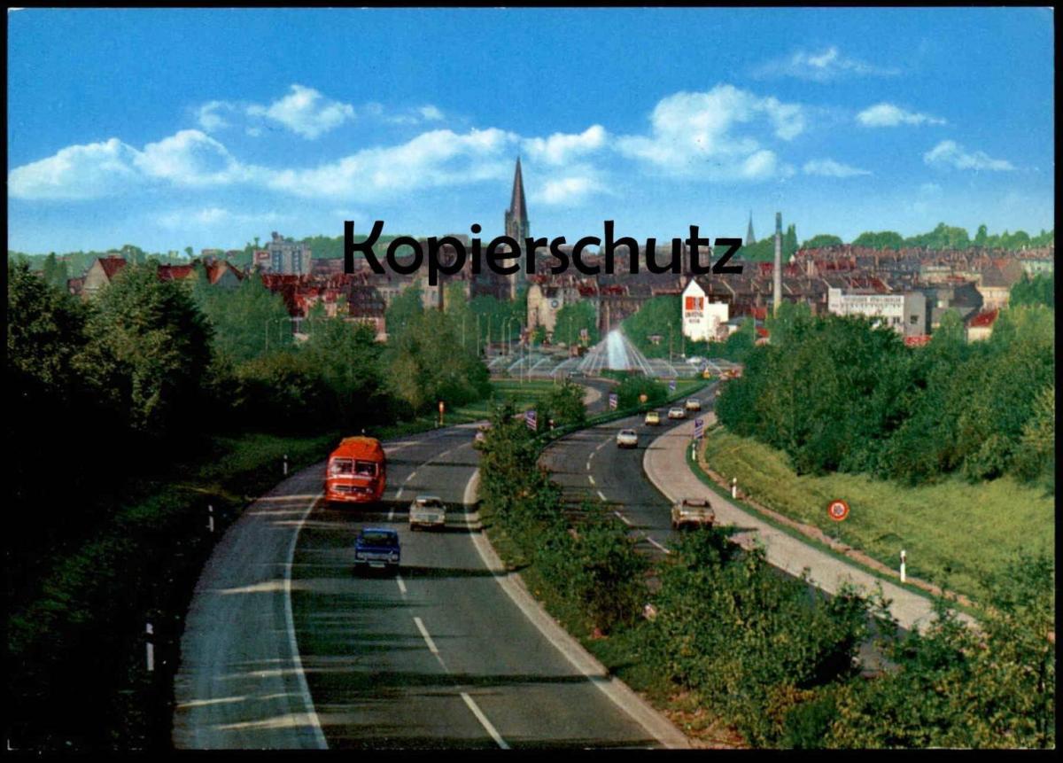 ÄLTERE POSTKARTE AUTOBAHN-VERTEILERRING AACHEN MIT BUS Opel Autobahn motorway highway autoroute Ansichtskarte postcard