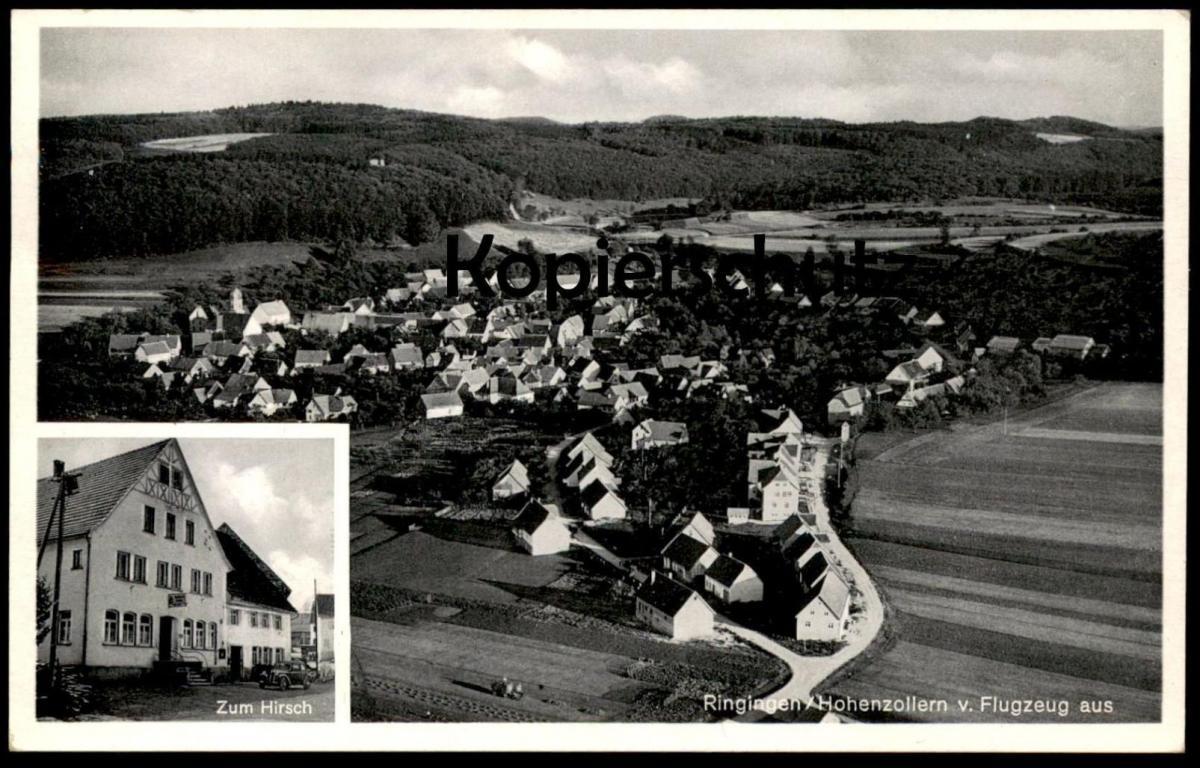 ALTE POSTKARTE RINGINGEN VOM FLUGZEUG GASTHOF ZUM HIRSCH BURLADINGEN HOHENZOLLERN Luftbild Fliegeraufnahme postcard cpa