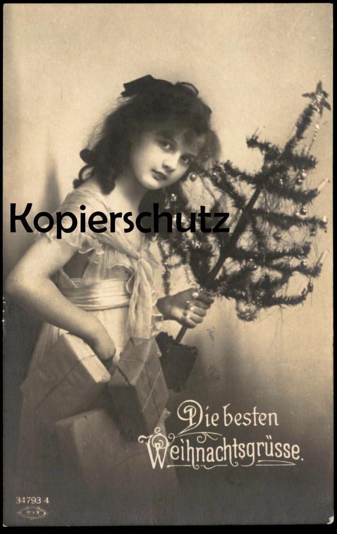 ALTE POSTKARTE WEIHNACHTEN KIND MIT CHRISTBAUM christmas tree arbre de noel enfant jeune femme girl child cpa postcard 0