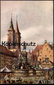 ALTE KÜNSTLER-POSTKARTE NÜRNBERG NEPTUNBRUNNEN SIGN. PAUL SOLLMANN Brunnen fountain fontaine Nuremberg Nuernberg cpa AK