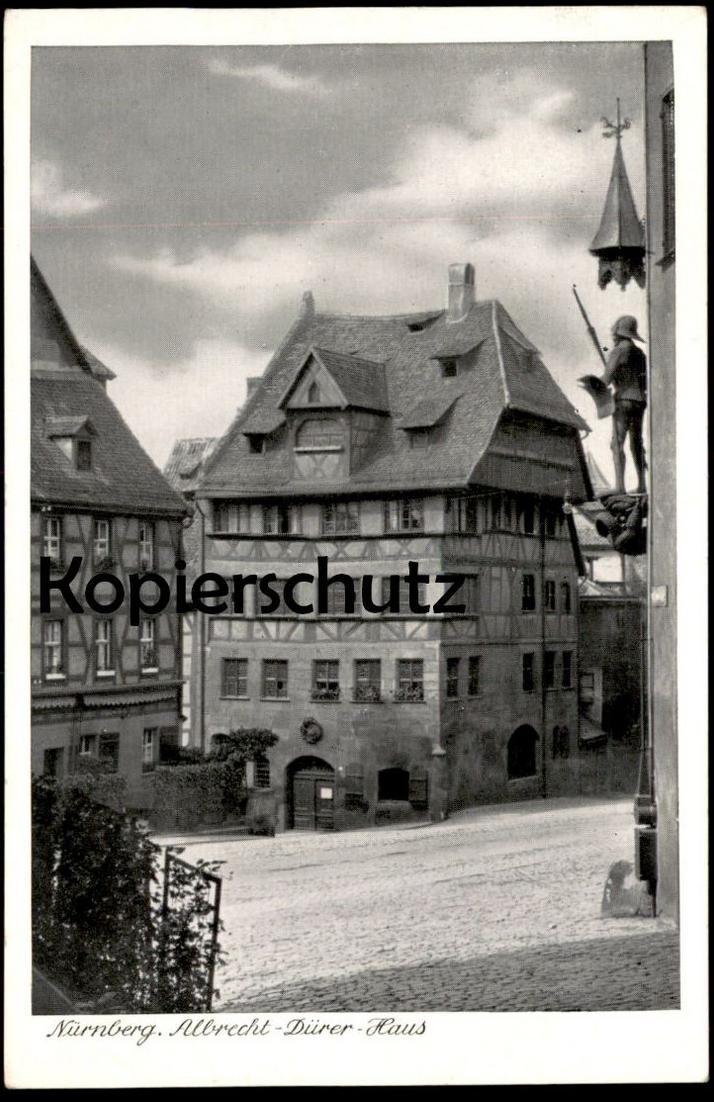 ALTE POSTKARTE NÜRNBERG ALBRECHT-DÜRER-HAUS MASCHINENWERBESTEMPEL STEMPEL TIERGARTEN 1912 - 1962 Nuremberg Nuernberg cpa