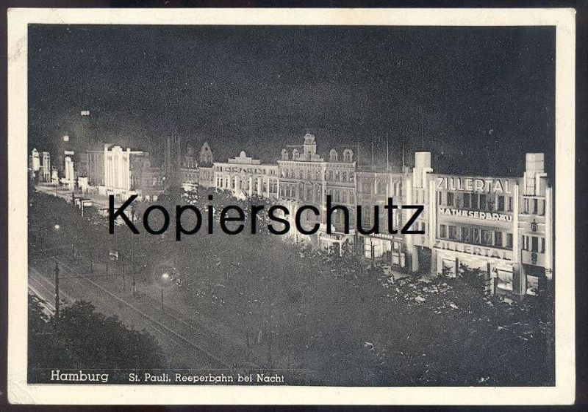 ALTE POSTKARTE HAMBURG ST. PAULI REEPERBAHN BEI NACHT ZILLERTAL MATHÄSERBRÄU at night la nuit cpa postcard Ansichtskarte