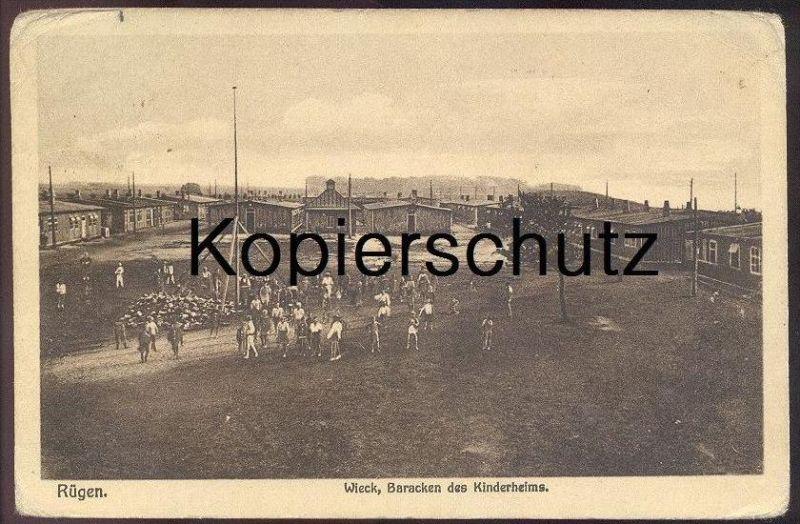 ALTE POSTKARTE INSEL RÜGEN WIECK BARACKEN DES KINDERHEIMS Wiek Ruegen Kinderheim children´s home Ansichtskarte postcard
