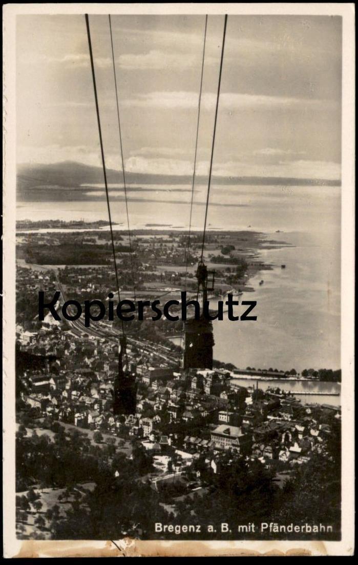 ALTE POSTKARTE BREGENZ AM BODENSEE MIT PFÄNDERBAHN SEILBAHN cable car télécabine railway cpa postcard Ansichtskarte AK