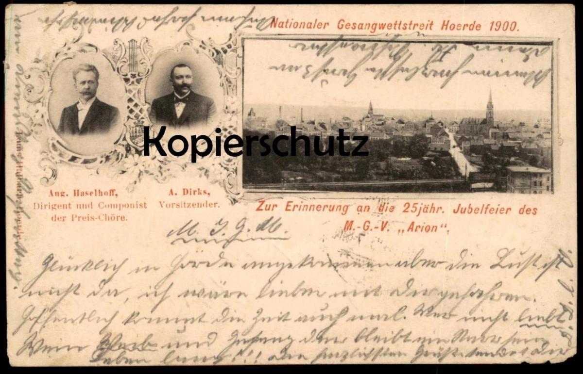 ALTE POSTKARTE DORTMUND-HOERDE GESANGWETTSTREIT MGV ARION DIRIGENT COMPONIST composer maestro cpa postcard Ansichtskarte