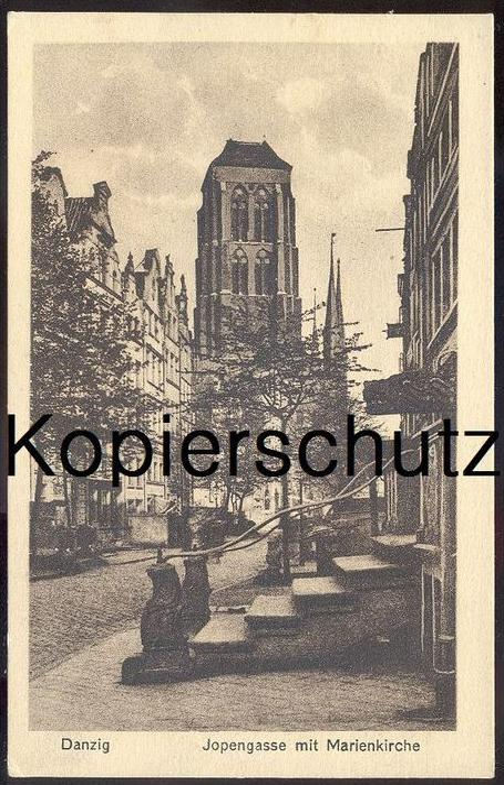 ALTE POSTKARTE DANZIG JOPENGASSE MIT MARIENKIRCHE Gdansk Polska Poland Kirche church église postcard Ansichtskarte cpa