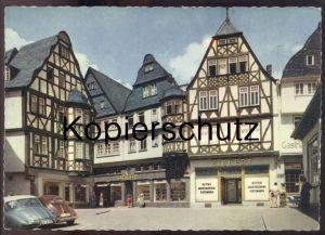 ÄLTERE POSTKARTE LIMBURG LAHN AM KORNMARKT VW KÄFER Volkswagen coccinelle cox beetle Brezel-Käfer Reklame Brühl Siebert