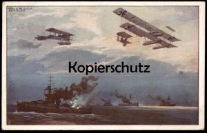 ALTE POSTKARTE WASSERFLUGZEUGE HANS RUDOLF SCHULZE Flugzeug Plane Airplane Avion warship Doppeldecker double-decker GB