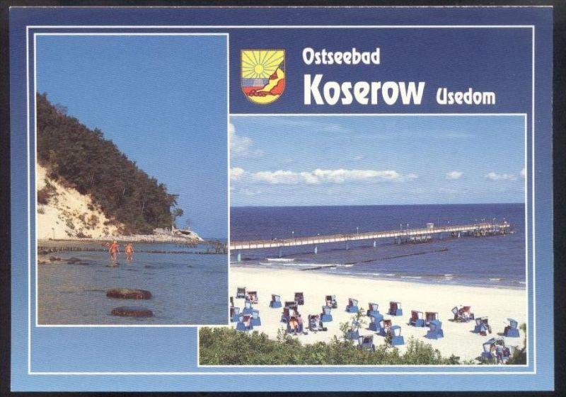 POSTKARTE OSTSEEBAD KOSEROW Usedom FKK nudity nudist nude nudiste Uznam Ostsee Baltic Sea cpa postcard AK Ansichtskarte