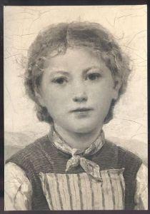 KÜNSTLER-KARTE DAS ERDBEERMAREILI ALBERT ANKER FOTO BENEDIKT RAST LAUSANNE Erdbeer-Mädchen strawberry girl