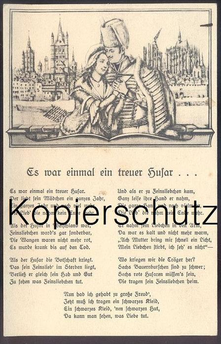 ALTE POSTKARTE LIEDERKARTE ES WAR EINMAL EIN TREUER HUSAR KÖLN KARNEVAL Carneval Coeln musique folklorique song postcard