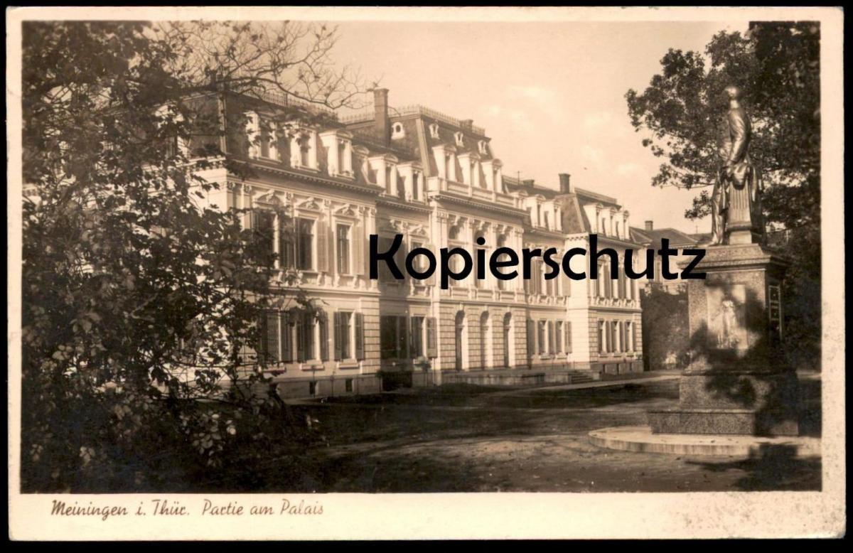 ALTE POSTKARTE MEININGEN IN THÜRINGEN PARTIE AM PALAIS Statue Herzog Bernhard Denkmal 40er Jahre Brotkarten cpa postcard