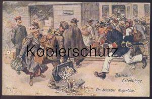 ALTE POSTKARTE ARTHUR THIELE HAMSTER-ERLEBNISSE EIN KRITISCHER AUGENBLICK Polizei Police Uniform uniforme plunderer cpa