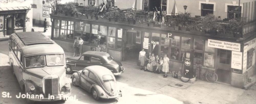 ÄLTERE POSTKARTE ST. JOHANN IN TIROL BUS VW KÄFER Volkswagen Coccinelle Tankstelle filling petrol station gasolin Auto 1