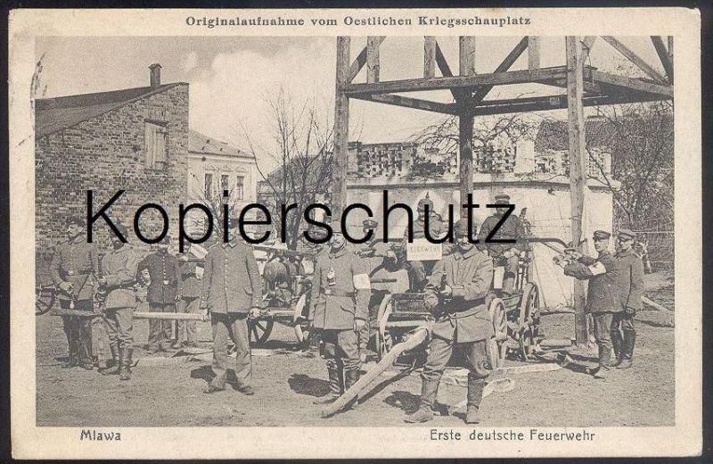 ALTE POSTKARTE MLAWA ERSTE DEUTSCHE FEUERWEHR OESTLICHER KRIEGSSCHAUPLATZ Mielau fire brigade pompiers 1914-1918 Polska