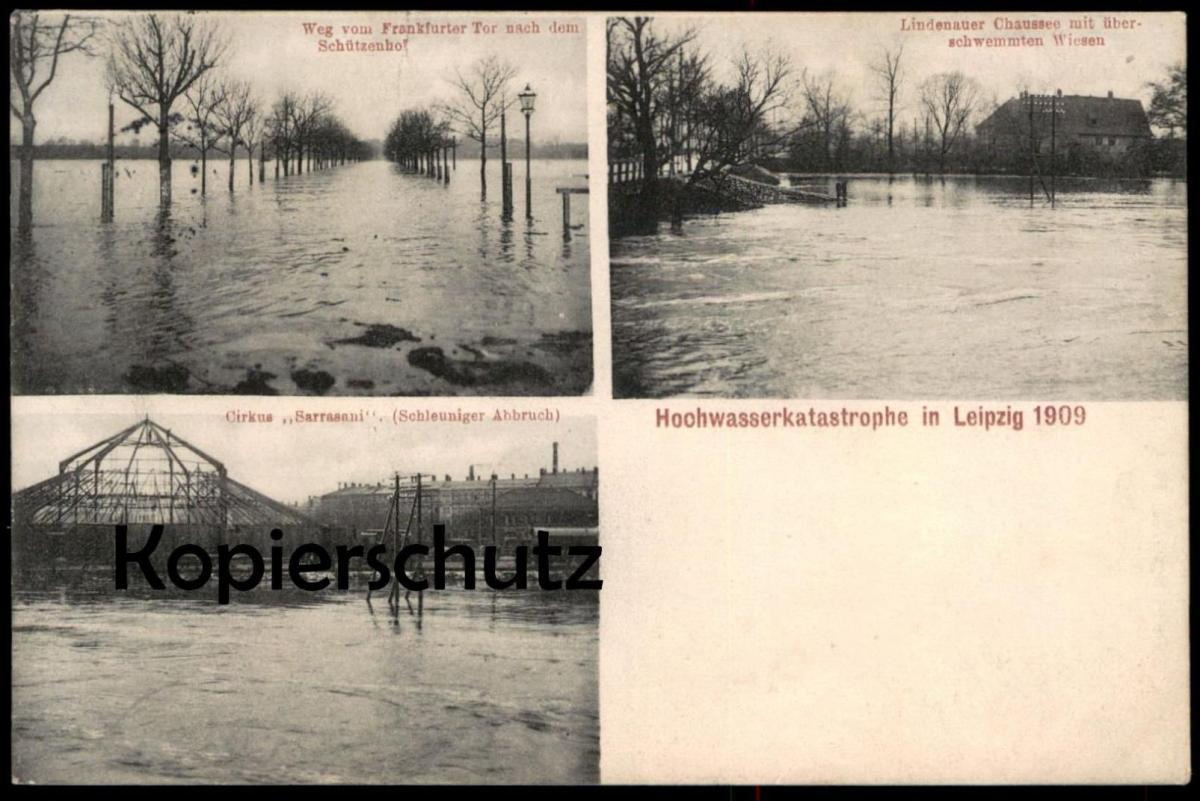 ALTE POSTKARTE ZIRKUS SARRASANI ABBAU BEI HOCHWASSER LEIPZIG Cirkus Circus cirque flood Flut cpa postcard Ansichtskarte