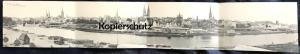 ALTE POSTKARTE PANORAMA VON LÜBECK MIT ELB-TRAVE-KANAL 4-fach-Klappkarte Luebeck Dampfmaschine postcard AK Ansichtskarte