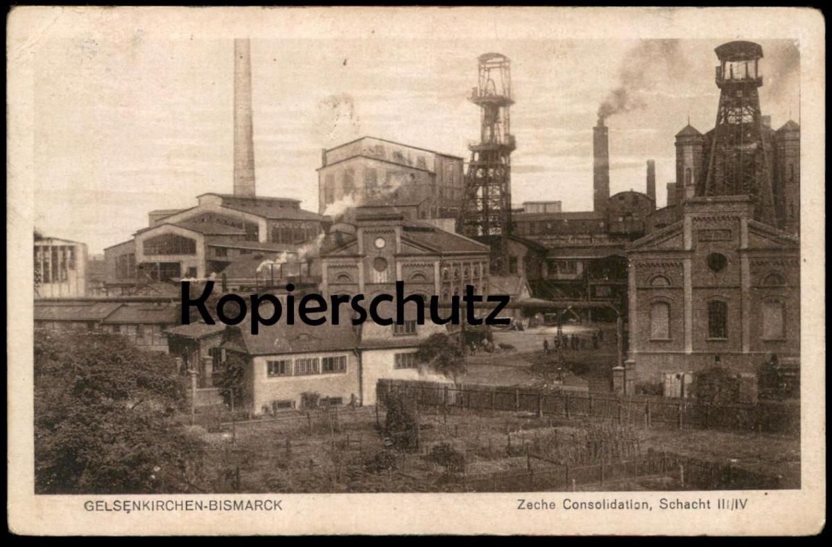ALTE POSTKARTE GELSENKIRCHEN-BISMARCK ZECHE CONSOLIDATION SCHACHT III/IV coal-mining mine de charbon Bergbau postcard AK