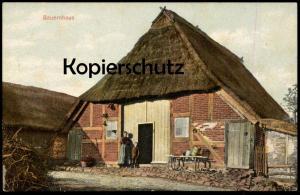 ALTE POSTKARTE BAUERNHAUS BAUERNHOF farm house ferme Milchkanne bidon à lait churn Reetdach Schleswig-Holstein postcard