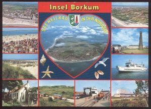 POSTKARTE INSEL BORKUM Zug Eisenbahn Lokomotive train railway Muschel Shell Seestern starfish Leuchtturm cpa postcard AK