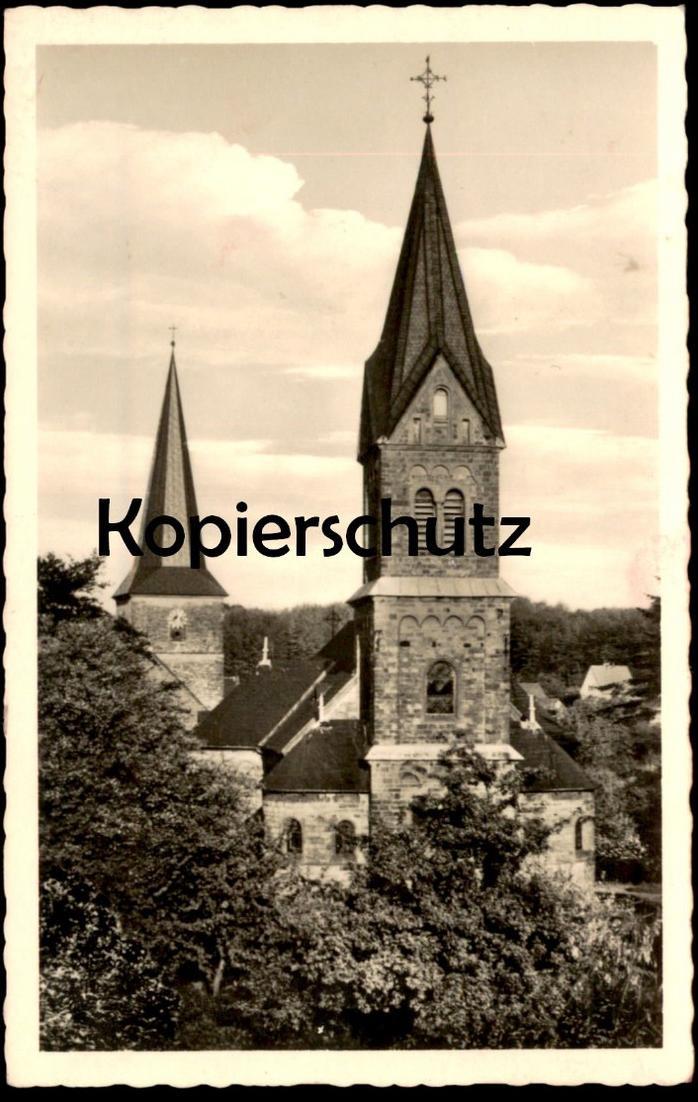 ÄLTERE POSTKARTE LUFTKURORT SCHLEDEHAUSEN KATH. & EV. KIRCHE Bissedorf church église cpa postcard AK Ansichtskarte