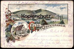 ALTE LITHO-POSTKARTE GRUSS AUS OBERTÜRKHEIM GASTHOF ZUM OCHSEN Stuttgart Obertuerkheim Zug Train Railway postcard cpa AK
