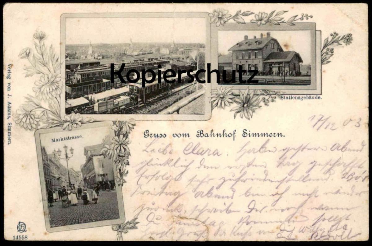 ALTE POSTKARTE GRUSS VOM BAHNHOF SIMMERN Stationsgebäude Cargo Waggon Zug Station Gare Train Railway Eisenbahn Dampflok