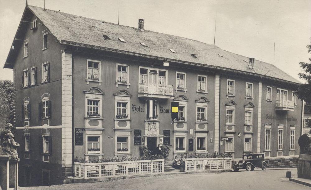 alte postkarte hotel lamm donaueschingen beflaggung 3 reich cpa postcard ak ansichtskarte nr. Black Bedroom Furniture Sets. Home Design Ideas