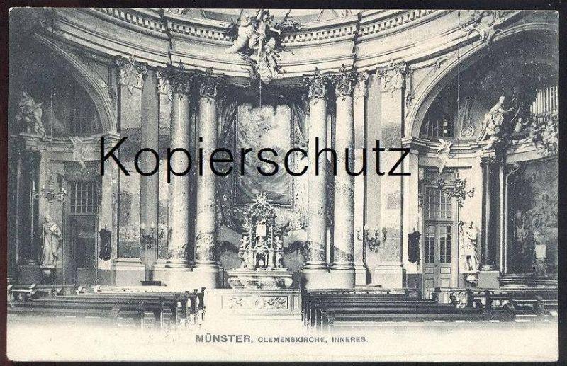 ALTE POSTKARTE MÜNSTER INNERES DER CLEMENSKIRCHE 1906 Kirche church église clemens interieur Orgel Organ orgue cpa AK