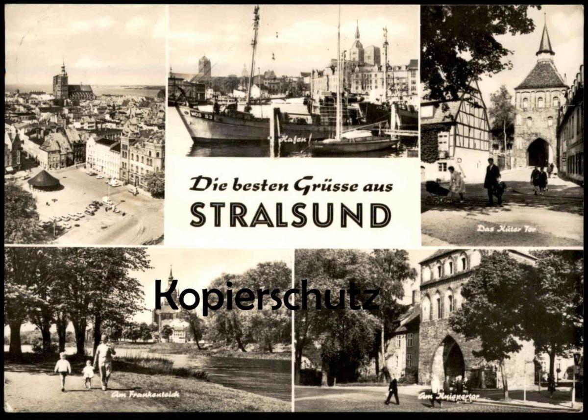 ÄLTERE POSTKARTE DIE BESTEN GRÜSSE AUS STRALSUND Hafen Küter Tor Kinderwagen Kniepertor cpa postcard AK Ansichtskarte