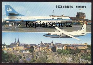 ÄLTERE POSTKARTE AIRPORT LUXEMBOURG LUXAIR Luxemburg Flughafen Aeroport Aéroport Avion Airline Plane cpa postcard AK